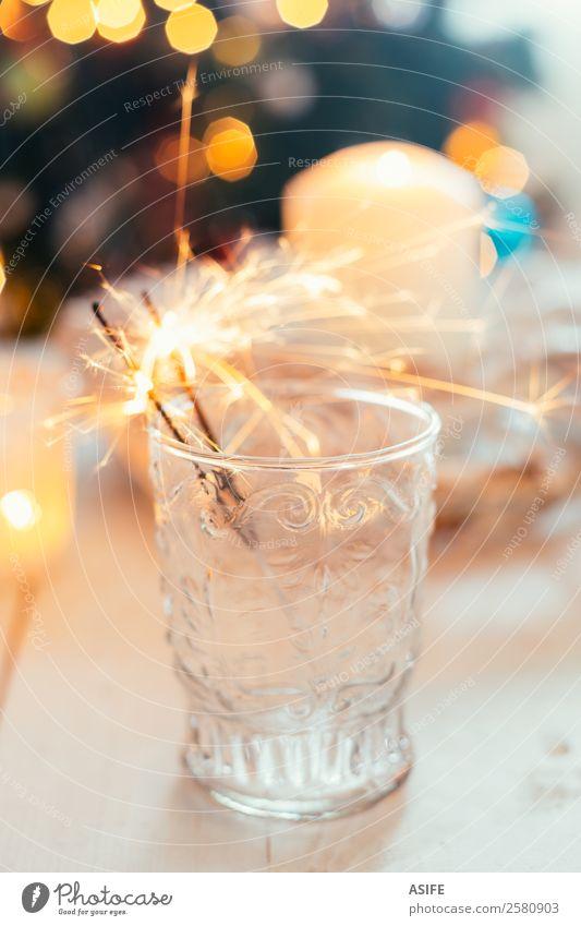 Wunderkerzen im Glas Freude Dekoration & Verzierung Feste & Feiern Weihnachten & Advent Silvester u. Neujahr Wärme Baum Kerze Fröhlichkeit weiß Funken