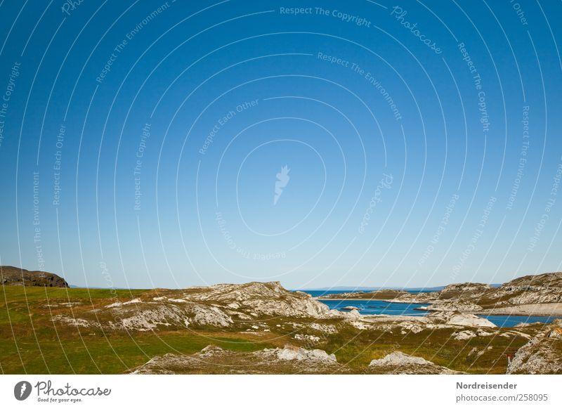 Freiraum Ferien & Urlaub & Reisen blau grün Sommer Sonne Erholung Meer Einsamkeit Landschaft ruhig Ferne Strand Küste Freiheit braun Felsen