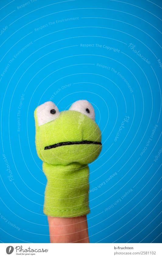 Hallo du da! Kindererziehung Bildung Finger Theater Schauspieler Puppentheater beobachten Bewegung Kommunizieren sprechen Spielen einfach lustig blau grün