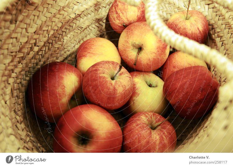 Äpfel Lebensmittel Frucht Apfel Korb netzartig Tasche einfach süß Wärme gelb gold rot rund frisch saftig Gesunde Ernährung geflochten Haufen viele Vitamin