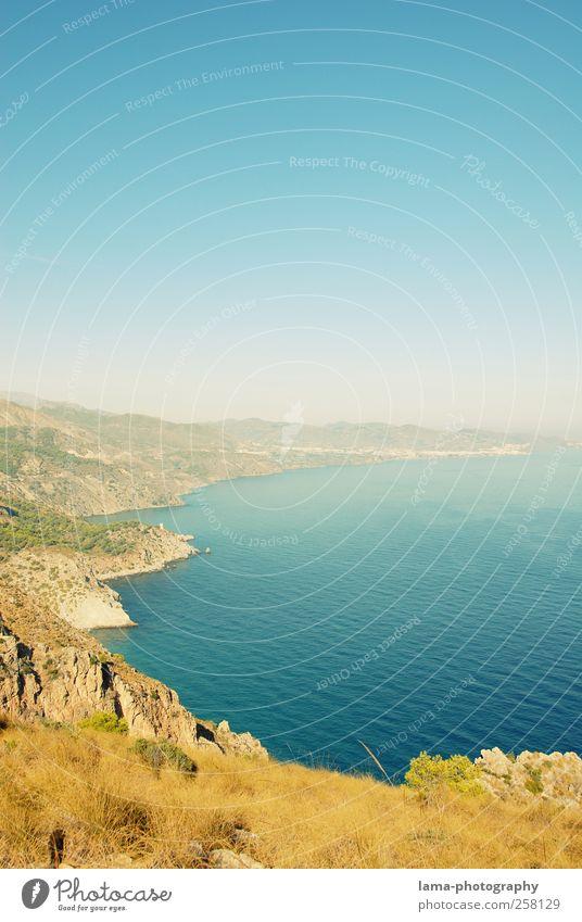 Welcome to Andalusia! [I] Ferien & Urlaub & Reisen Abenteuer Ferne Sommer Meer Wellen Landschaft Wasser Wolkenloser Himmel Felsen Küste Mittelmeer Andalusien