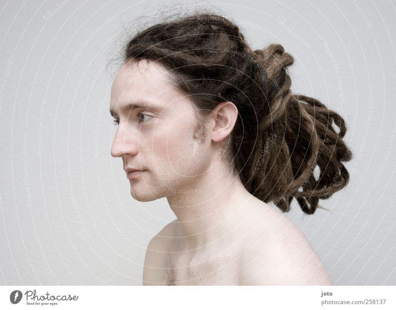 -100- Portrait Jugendliche schön ruhig kalt Haare & Frisuren Mode Zufriedenheit natürlich maskulin Junger Mann frei authentisch ästhetisch nachdenklich Coolness