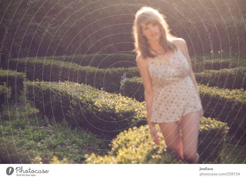 #258154 Stil Freizeit & Hobby Ausflug Abenteuer Freiheit Sommer Sonne Frau Erwachsene Leben Mensch Park Kleid brünett beobachten Erholung leuchten träumen