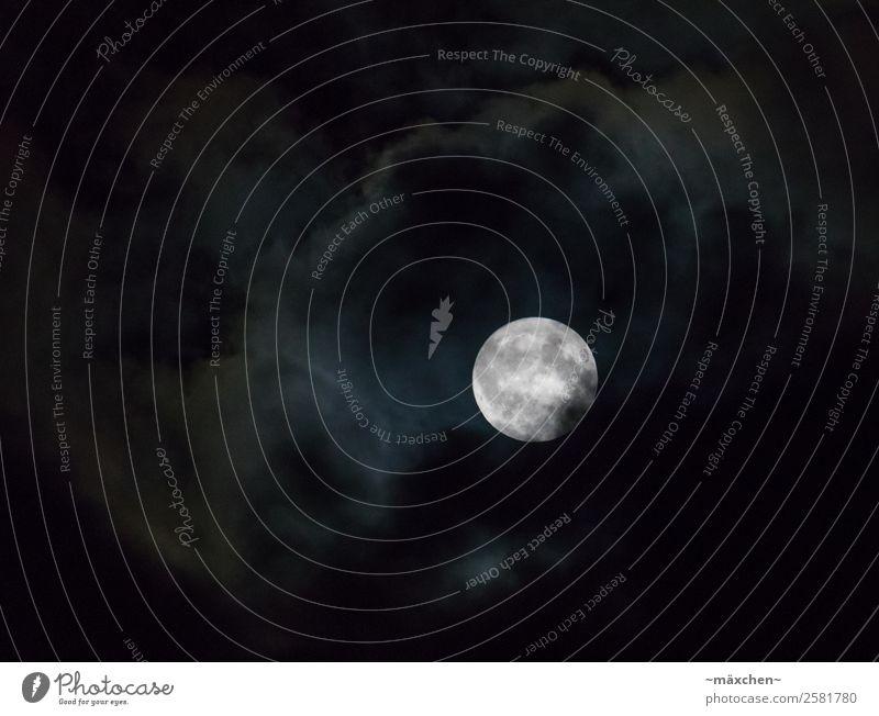 Vollmond in Wolken weiß Ferne dunkel schwarz hell verstecken Mond Nachthimmel Himmelskörper & Weltall bedeckt