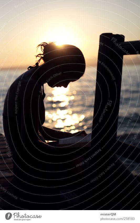 Inspiration. Frau Jugendliche Sonne Ferien & Urlaub & Reisen Sommer ruhig Erholung See Zufriedenheit Freizeit & Hobby ästhetisch lernen Romantik lesen Idylle Konzentration