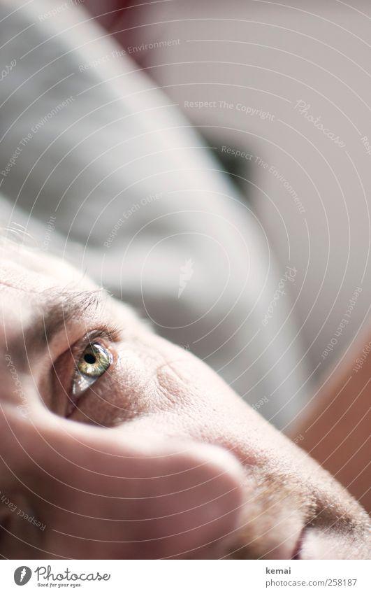 Everytime we touch Mensch Mann grün ruhig Gesicht Erwachsene Auge Erholung Leben Gefühle Kopf hell Nase maskulin nachdenklich Gelassenheit