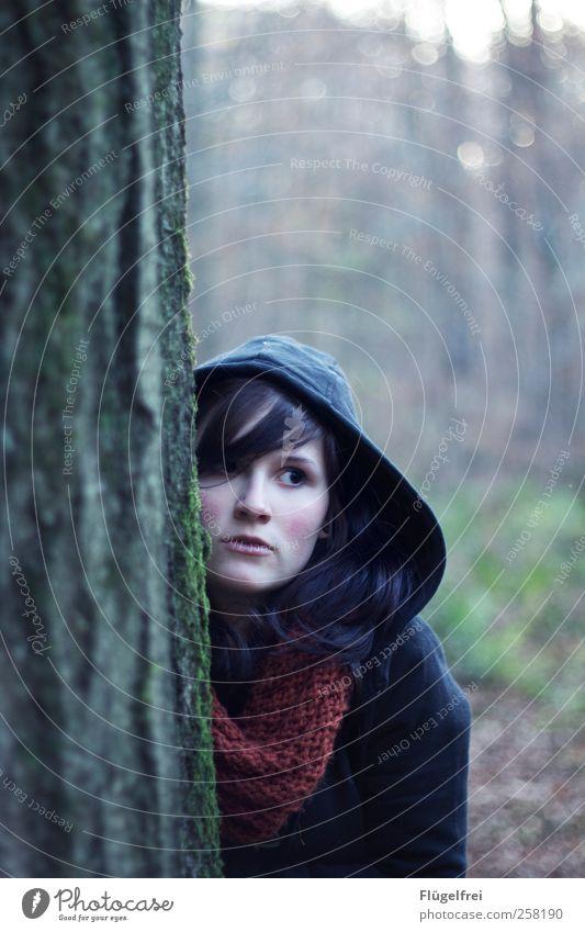 Dahinter Mensch Natur Jugendliche Baum Einsamkeit Erwachsene Wald feminin kalt Haare & Frisuren Angst 18-30 Jahre beobachten Junge Frau Märchen skeptisch