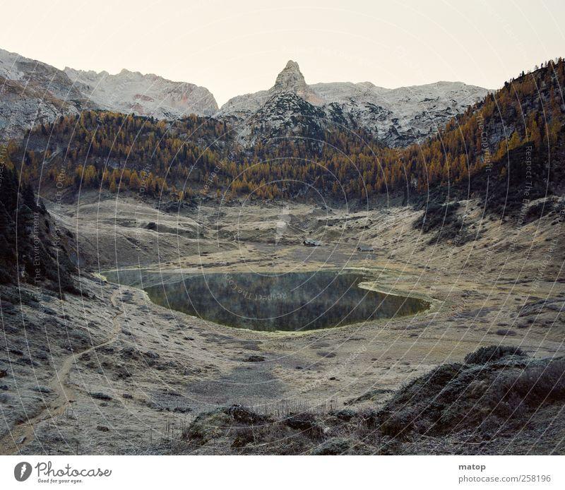 Funtensee Klettern Bergsteigen wandern Natur Landschaft Wasser Herbst Eis Frost Baum Lärche Felsen Alpen Berge u. Gebirge Steinernes Meer