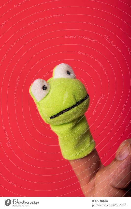 Sei kein Frosch II Gesicht Auge Finger Theaterschauspiel Schauspieler Puppentheater Stofftiere berühren festhalten Kommunizieren Spielen frech grün rot