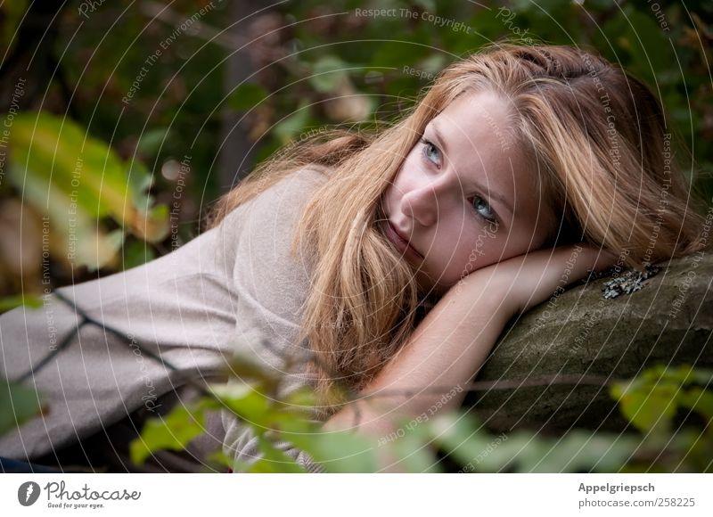 Ein Fräulein liegt im Walde, ganz still und stumm.. Erholung ruhig feminin Junge Frau Jugendliche 1 Mensch Natur Sommer Baum blond langhaarig beobachten Denken