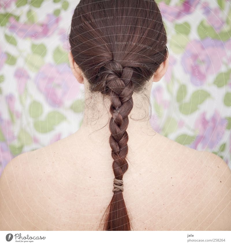 flechtwerk Mensch feminin Frau Erwachsene Kopf Haare & Frisuren 1 brünett rothaarig langhaarig Zopf ästhetisch schön nackt Farbfoto Innenaufnahme Kunstlicht