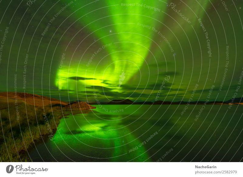 Himmel Natur Ferien & Urlaub & Reisen Farbe grün Wasser Landschaft Winter natürlich See träumen Europa Abenteuer Stern Island Norden