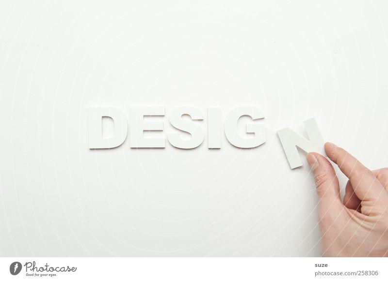 Design Lifestyle Hand Finger Schriftzeichen ästhetisch einfach hell Sauberkeit weiß Buchstaben Wort Klarheit deutlich Kreativität Typographie Großbuchstabe