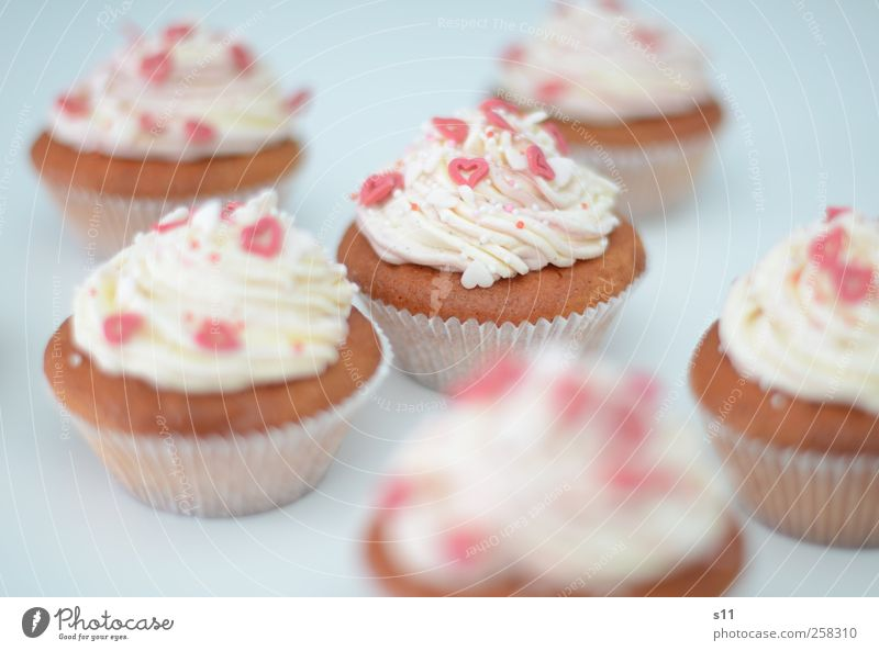 sweet dreams Lebensmittel Kuchen Dessert Süßwaren Kaffeetrinken Duft schön süß rosa rot weiß Backwaren Muffin Cupcake Sahne cremig Herz Zucker Feste & Feiern