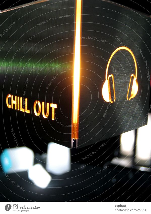 chill-out Lampe Stil Musik Metall Technik & Technologie Disco Schriftzeichen Bar Buchstaben Häusliches Leben Symbole & Metaphern Typographie Foyer Kopfhörer