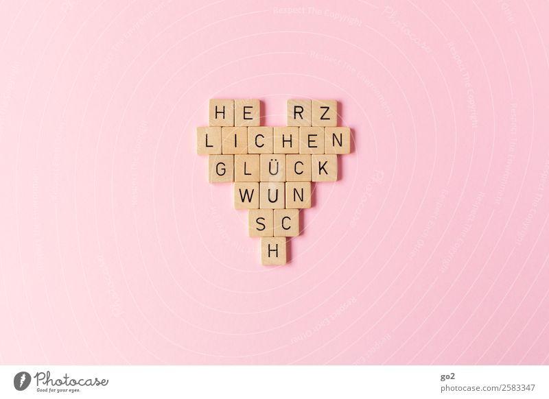 Herzlichen Glückwunsch Holz Liebe Gefühle Feste & Feiern Spielen außergewöhnlich rosa Freundschaft Zufriedenheit Dekoration & Verzierung Schriftzeichen