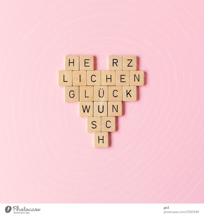 Herz-lichen Glückwunsch Freude Leben Holz Liebe Gefühle Feste & Feiern rosa Freundschaft Zufriedenheit Dekoration & Verzierung Schriftzeichen Geburtstag