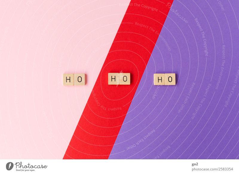 Ho Ho Ho Spielen Brettspiel Weihnachten & Advent Papier Dekoration & Verzierung Schriftzeichen ästhetisch Fröhlichkeit violett rosa rot Gefühle Freude Vorfreude