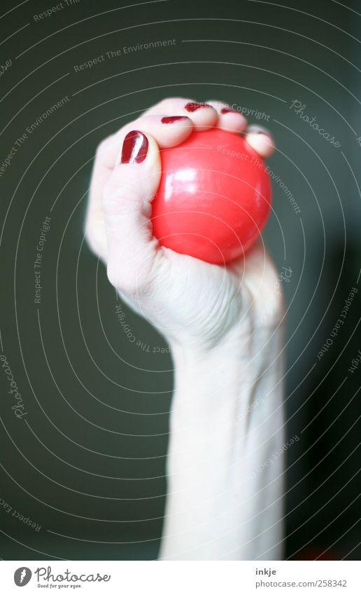 schnappen Frau Hand rot feminin Gefühle Kraft Freizeit & Hobby elegant rund Ball einfach Kunststoff festhalten fangen Kugel Mut