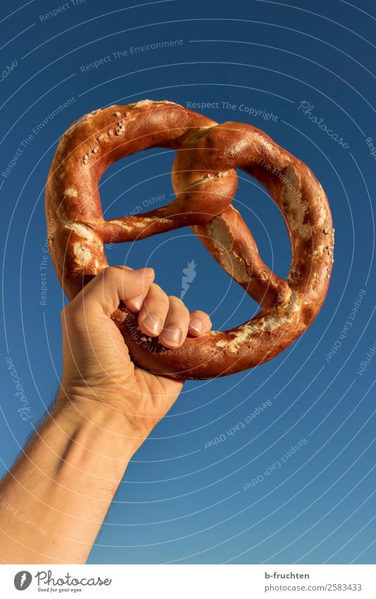 Hoch lebe die Brezel. Teigwaren Backwaren Brot Feste & Feiern Oktoberfest Mann Erwachsene Hand Finger Himmel Wolkenloser Himmel wählen festhalten genießen