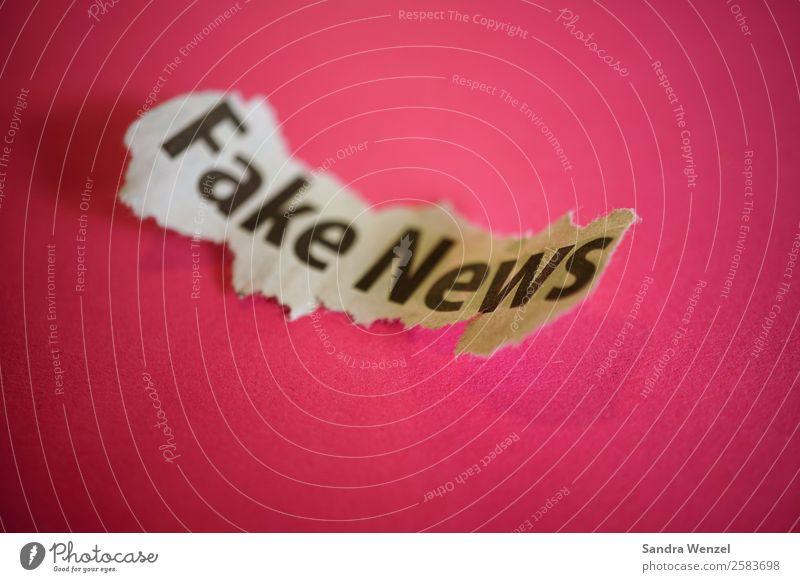 Fake News Schriftzeichen violett Medien Zeitung Gewalt Politik & Staat Printmedien lügen seriös Hass Medienbranche