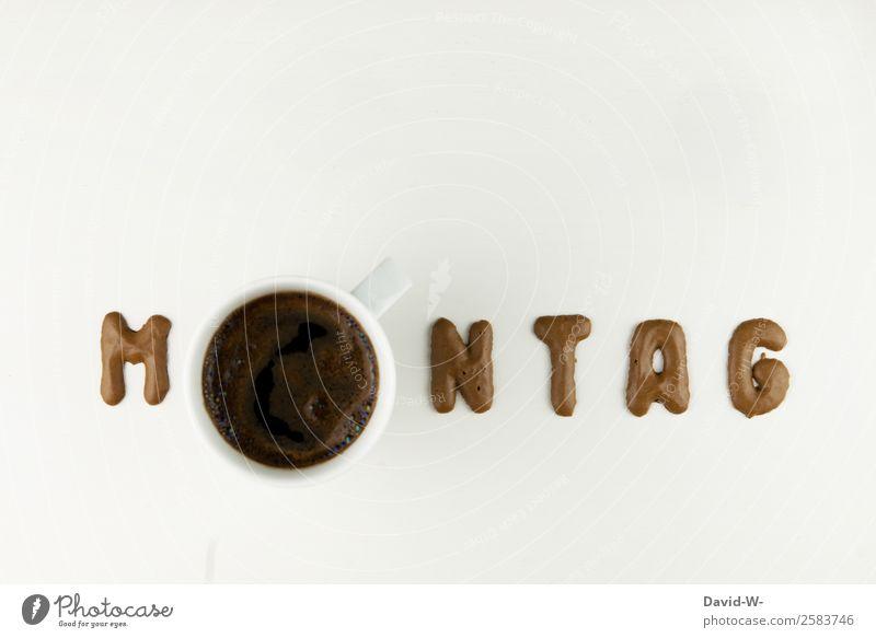 Montag Mensch Erholung ruhig Gesundheit Lifestyle Leben Stil Design Zufriedenheit genießen Beginn Pause Buchstaben Kaffee Getränk trinken