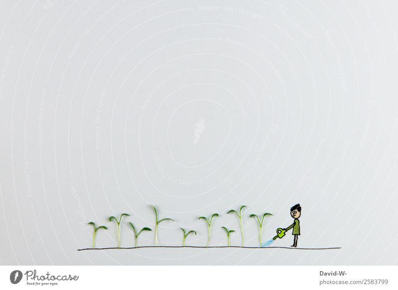 säen Leben Erholung ruhig Freizeit & Hobby Beruf maskulin feminin Frau Erwachsene Mann 1 Mensch Kunst Umwelt Natur Erde Sommer Schönes Wetter Pflanze