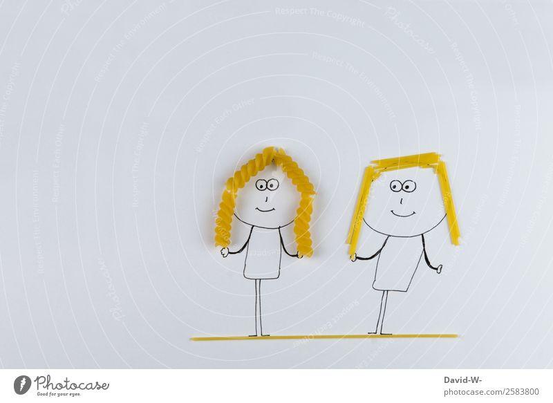 Friends Mensch feminin Junge Frau Jugendliche Erwachsene Schwester Freundschaft Paar Partner Leben Haare & Frisuren 2 Kunst Künstler Kunstwerk Mode blond Locken