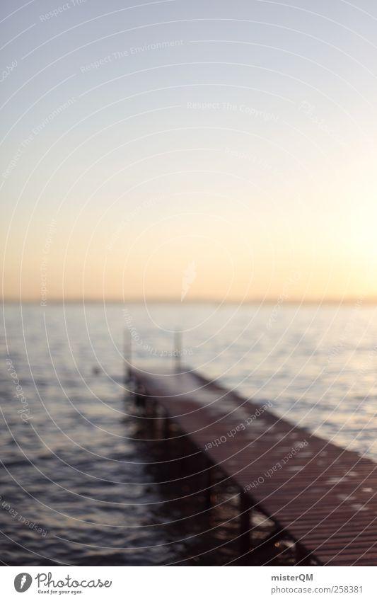 Draußen am See. Kunst ästhetisch Zufriedenheit ruhig abgelegen Steg Anlegestelle Seeufer Wellen Unschärfe Ferien & Urlaub & Reisen Urlaubsstimmung Urlaubsfoto