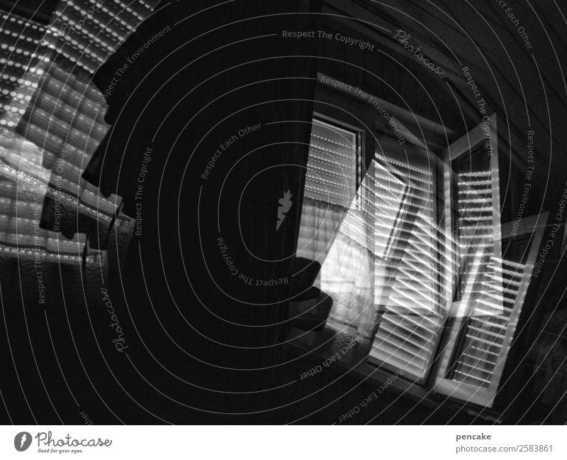 grenzüberschreitung   von der nacht zum tag Fenster Bewegung Stimmung träumen Doppelbelichtung Schlafzimmer Übergang Rollo