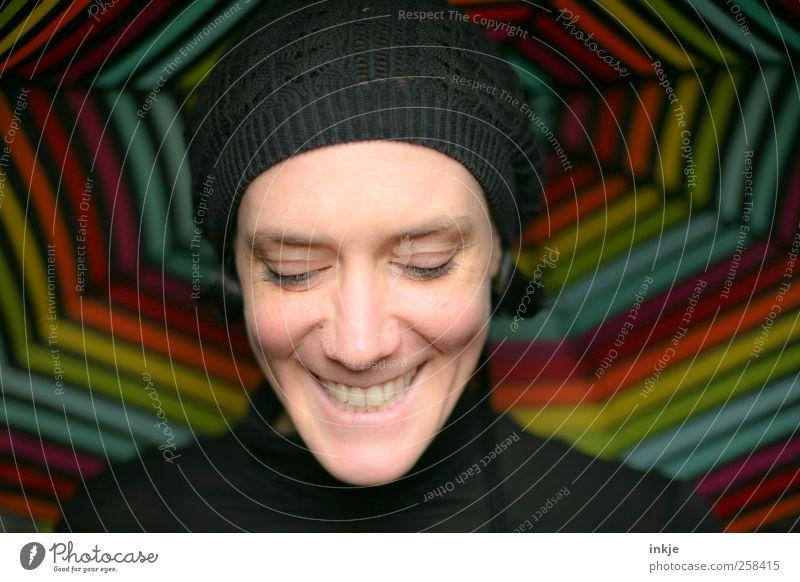 sunshine Mensch Frau schön Freude Gesicht Erwachsene Leben Gefühle lachen Glück Stil Linie natürlich Ausflug Fröhlichkeit Streifen