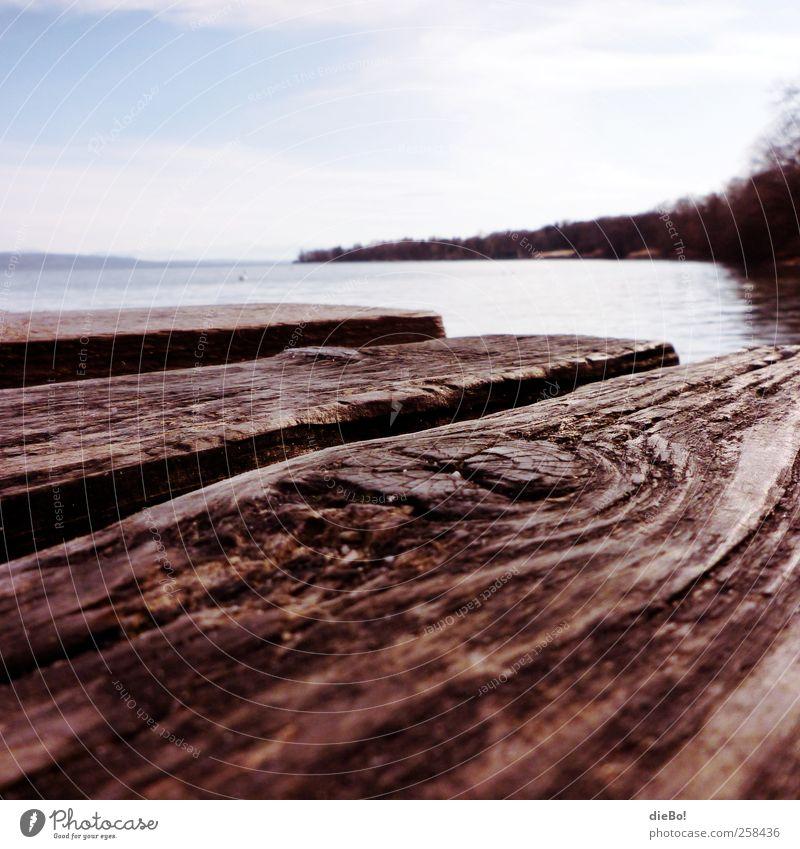"""Ammersee Umwelt Natur Wasser Sommer Seeufer """"Steg Holzsteg"""" Erholung erleben Ferien & Urlaub & Reisen Freiheit Freizeit & Hobby Idylle Pause Perspektive"""