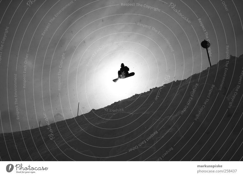 air Winter Berge u. Gebirge Schnee Lifestyle springen Schilder & Markierungen Erfolg hoch Gipfel Alpen Schneebedeckte Gipfel abwärts Österreich Gletscher steil