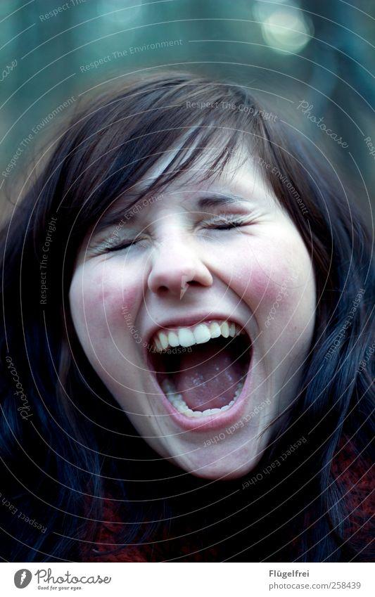 Schrei vor Glück feminin Junge Frau Jugendliche Zähne 1 Mensch 18-30 Jahre Erwachsene schreien Hautfalten Haare & Frisuren laut Wut Nervosität Farbfoto