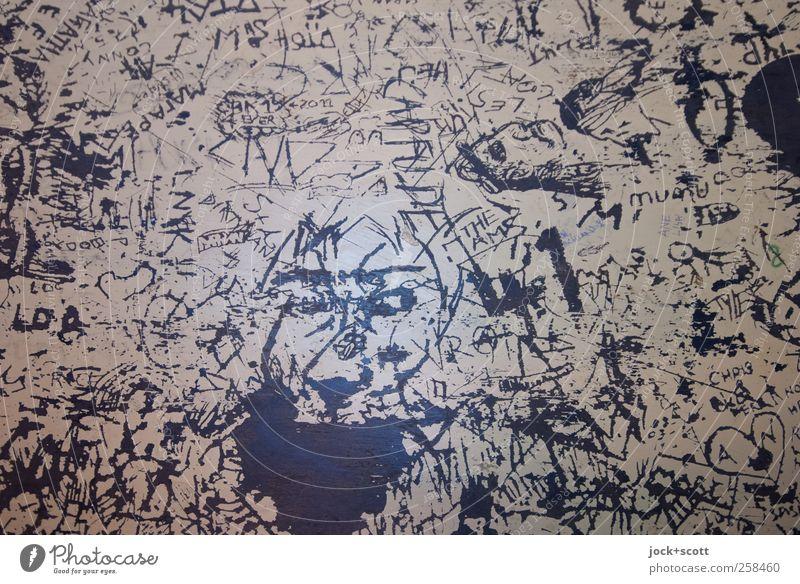 witzig ritzig dunkel Graffiti Innenarchitektur Holz außergewöhnlich Linie Kunst Kopf Aktion Dekoration & Verzierung verrückt Schriftzeichen ästhetisch Tisch