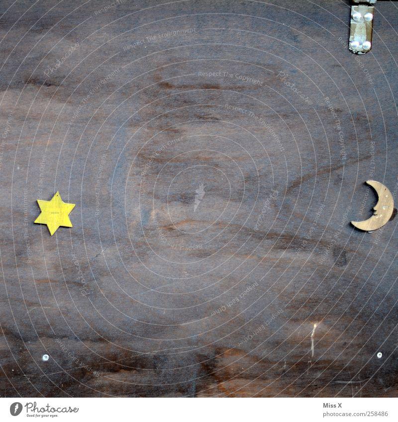 Mond & Sterne Holz Zufriedenheit Stern Stern (Symbol) Zeichen Mond Holzplatte Halbmond