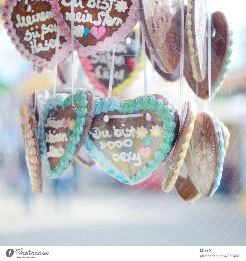 ** Du bist so sexy ** Liebe Ernährung Lebensmittel Herz süß Romantik Kitsch Jahrmarkt Süßwaren Verliebtheit Zucker Sympathie Valentinstag Lebkuchenherzen Zuckerguß
