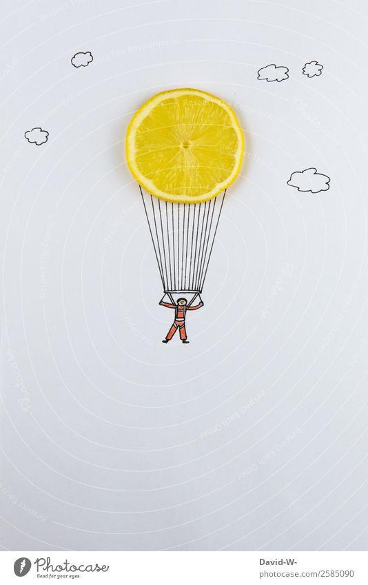 fallschirmsprung Mensch Himmel Jugendliche Mann Junger Mann Freude Ferne Lifestyle Erwachsene Leben lustig Sport Glück Kunst Freiheit fliegen