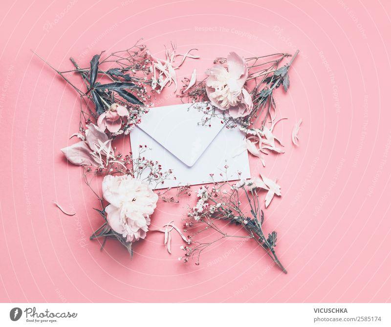 Weißer Briefumschlag mit blumen auf rosa Hintergrund Lifestyle Stil Design Feste & Feiern Valentinstag Muttertag Hochzeit Geburtstag E-Mail Natur Pflanze Blume