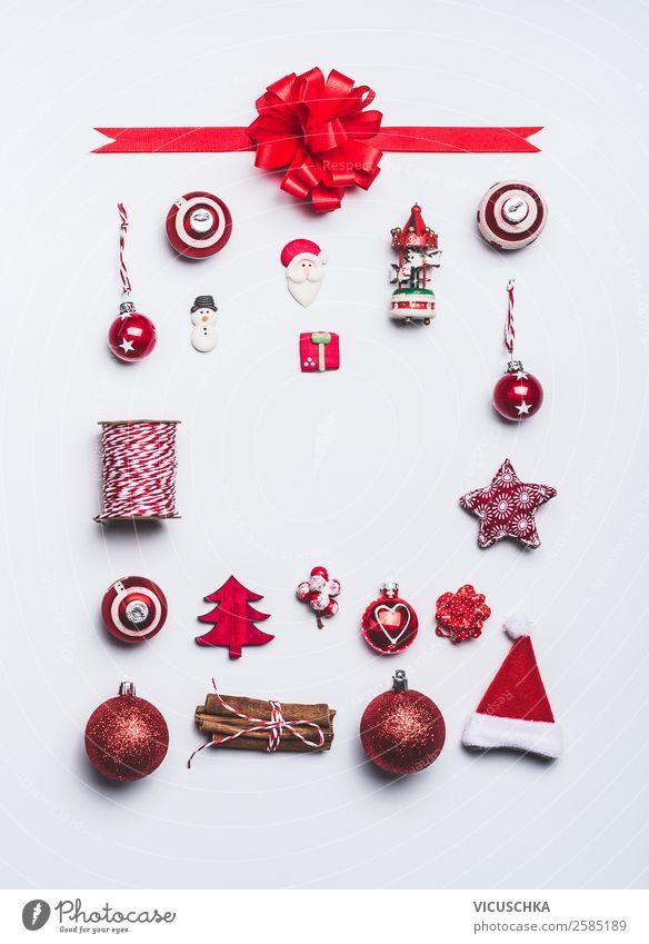 Rote Weihnachtsdekoration Rahmen on white kaufen Stil Design Winter Dekoration & Verzierung Party Veranstaltung Feste & Feiern Weihnachten & Advent Ornament