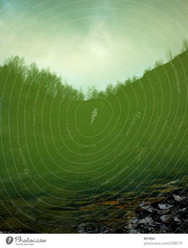 Ton Steine Schotter Landschaft Erde Wasser Wolken Felsen außergewöhnlich grün Umwelt Umweltverschmutzung Wandel & Veränderung Steinbruch Wasserspiegelung