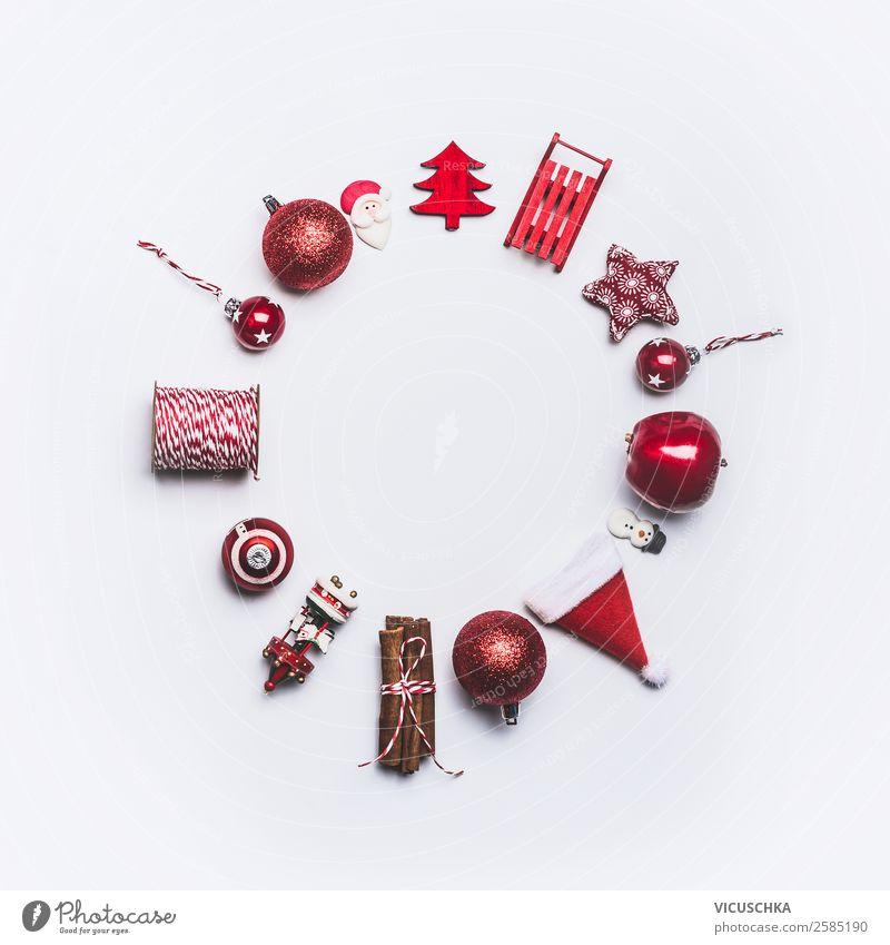 Weihnachten Dekoration Rahmen rund auf weiß kaufen Stil Design Winter Feste & Feiern Weihnachten & Advent Verpackung Dekoration & Verzierung Ornament Kugel