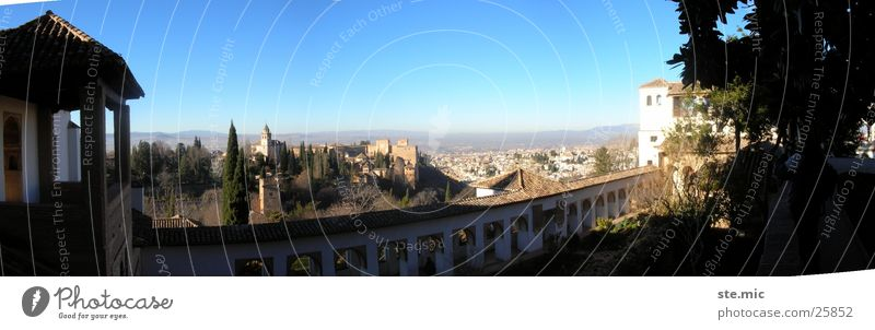 Ausblick Alhambra Granada Sonne Mauer groß Europa Aussicht Spanien Schönes Wetter Panorama (Bildformat) Andalusien
