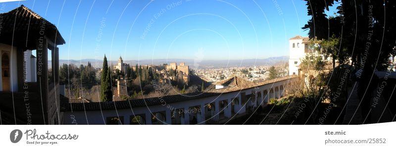 Ausblick Alhambra Granada Spanien Aussicht Mauer Panorama (Aussicht) Europa Sonne Schönes Wetter groß Panorama (Bildformat)