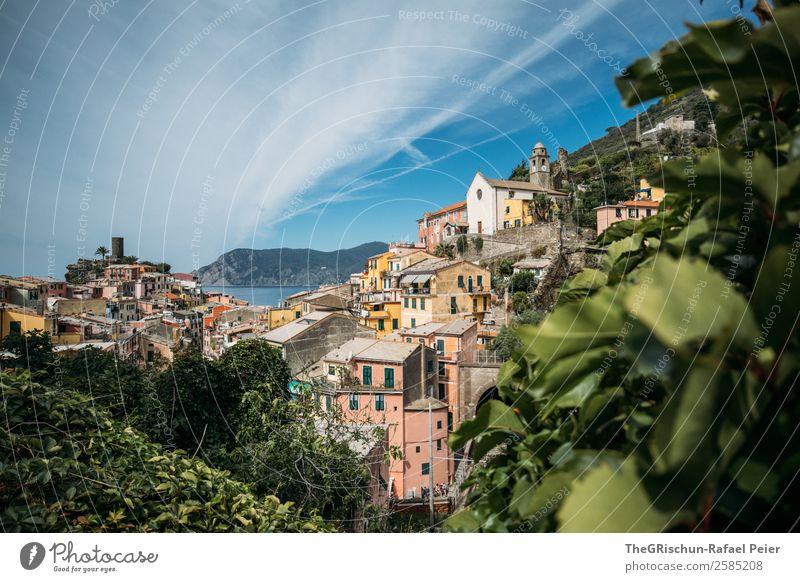 Vernazza (Cinque Terre) Dorf Fischerdorf blau mehrfarbig gelb grün Italien Tourismus Pflanze Haus Wolken Meer geschätzt Küste ästhetisch