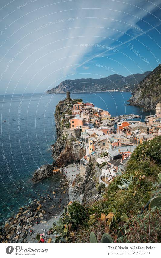 Vernazza Landschaft blau mehrfarbig grün Cinque Terre Italien Ferien & Urlaub & Reisen Haus Klippe Strand Meer Reisefotografie Hügel entdecken Aussicht