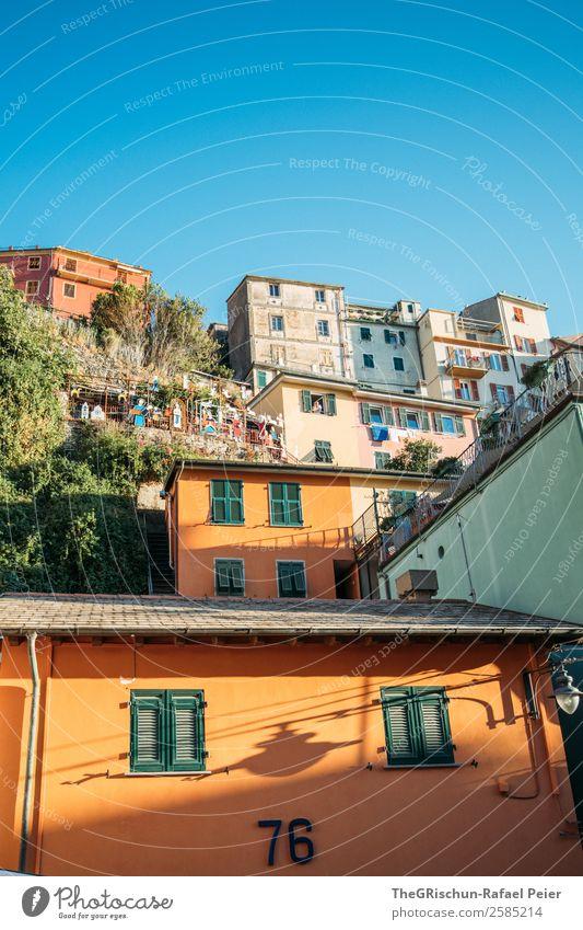 Manarola Fischerdorf blau mehrfarbig gelb Cinque Terre Italien Reisefotografie Tourismus Haus Ferien & Urlaub & Reisen Hügel steil Dorf geschätzt