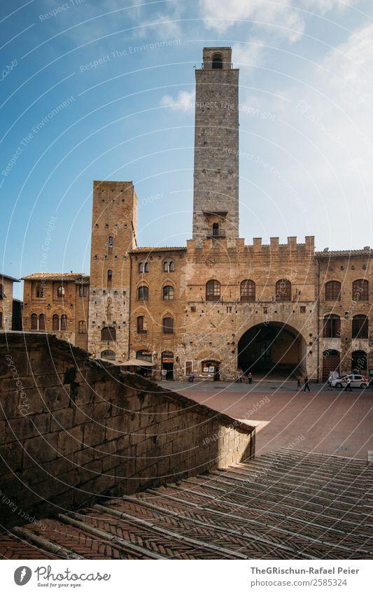 San Gimignano Dorf Kleinstadt blau grau schwarz weiß Italien Toskana Turm Bauwerk Treppe Platz Mauer Haus Reisefotografie Tourismus Ferien & Urlaub & Reisen