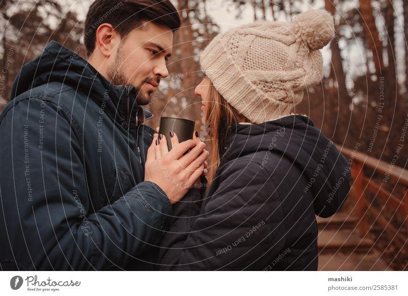 Frau Ferien & Urlaub & Reisen Natur Mann Freude Wald Lifestyle Erwachsene Herbst Liebe Familie & Verwandtschaft Paar Zusammensein braun Freundschaft träumen
