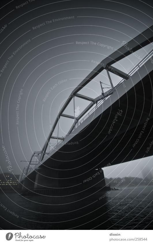 Auf der anderen Seite des Flusses [4] Wasser Himmel Wolken schlechtes Wetter Nebel Rhein Mannheim Ludwigshafen Stadt Brücke Bauwerk Architektur